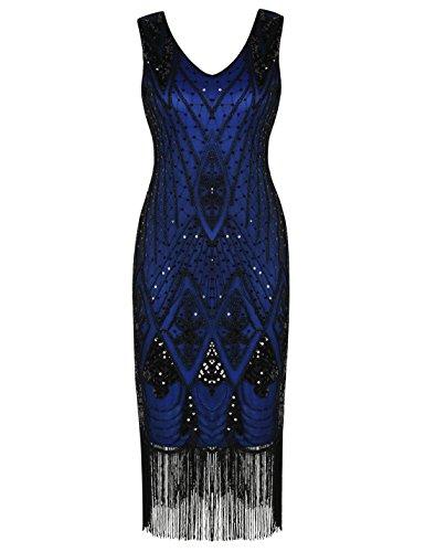 PrettyGuide Damen 1920er Gatsby Art Deco Pailletten Cocktail Charleston Kleid M Blau