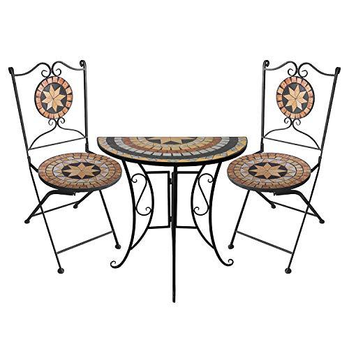 3tlg. Sitzgarnitur Mosaikgarnitur Tisch halbrund 70x35cm + 2X Mosaik Gartenstuhl Klappstuhl