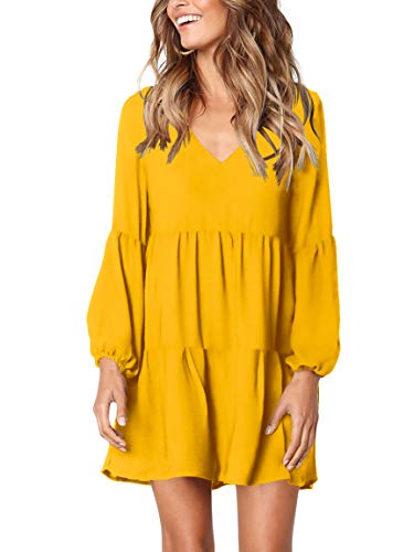 Amoretu Women Long Sleeve Tunic Dress V Neck Swing Shift Dresses(Yellow,Small)