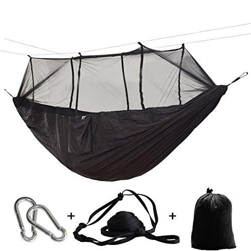GZSC Hamac Ultralight Camping en Plein air Chasse Moustiquaire Parachute Hamac Jardin 2 Personnes Hamak Lit Suspendu Loisirs (Color : Black)