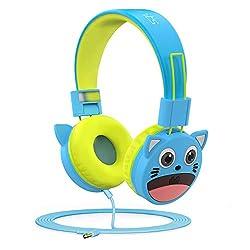 Kinderkopfhörer mit Gehörschutz für begrenztes 94dB Volumen,aus Material in Lebensmittelqualität,BPA-frei,verkabelter On-Ear-Kopfhörer für Kinder,Kleinkind sowie Baby