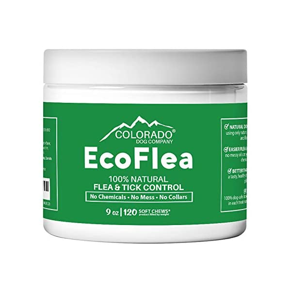 EcoFlea by ColoradoDog – all Natural Chewable Dog Treats for Flea and Tick Treatment and Prevention – 120 Count – no Chemicals, no Mess, no Collars