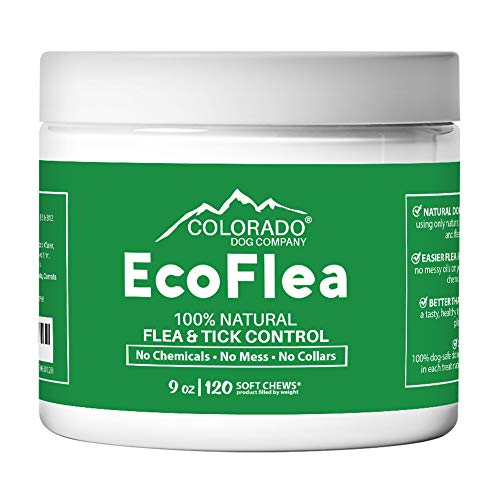 EcoFlea by ColoradoDog - all Natural Chewable Dog Treats for Flea and Tick Treatment and Prevention - 120 Count - no Chemicals, no Mess, no Collars