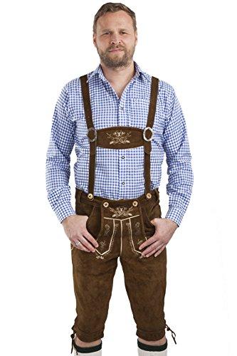 Herren Hopfen und Malz Trachtenlederhose Lederhosen Bayern Kniebundhose mit Hosenträgern braun - Original Trachten Lederhose Kniebund (54, mittelbraun)
