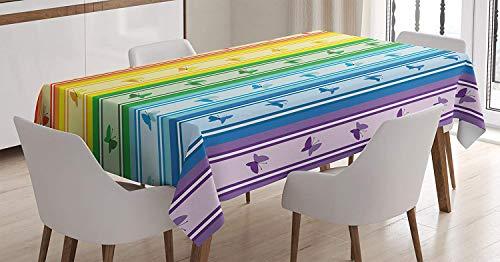 Mantel geometrico, estampado de rayas del arco iris con moscas de mariposa estampado grafico geometrico de armonia mixta, cubierta de mesa rectangular para la decoracion de la cocina del comedor, amar