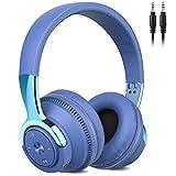 Auriculares Inalámbricos Bluetooth, 60Hrs Cascos Inalambricos Diadema Plegables HiFi Cerrados Auriculares con Microfono/Luces de Colores/Cable, Soporte Micro SD/FM reproducir, Control de Botones(Azul)