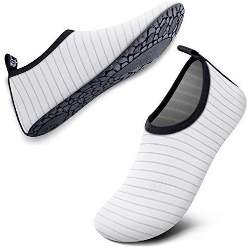SIMARI Water Shoes for Women Men Anti Slip Summer Outdoor Beach Swim Surf Pool SWS001 Stripe White