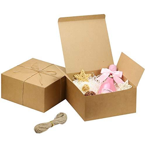 Kraft Cajas de Regalo Cartón Blancas (Pack de 12)-Medidas 20x20x10cm -Cajas Regalo con Tapa y Cuerda de Cáñamo, Para Bodas Presentación Regalos, Fiestas, Dulces,Marrón