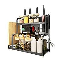 tlj ステンレス鋼のスパイスラック、多層キッチンカウンタートップオーガナイザーラック、スパイスの瓶とボトルの収納スペースを節約/黒 / 300x400mm