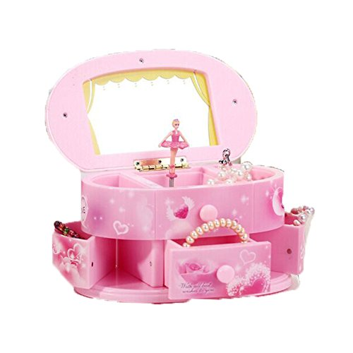 Ulable Makeup Mirror Music Box Jewelry Storage Music Box Pink for Kids