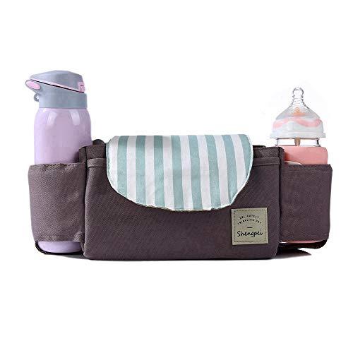 RX Cochecito de bebé del Bolso del Organizador - Universal Padres pañal Organizador con Soportes para Botellas de Leche y Cremallera del Bolso de Embrague, Ajuste para Todo el Cochecito de bebé