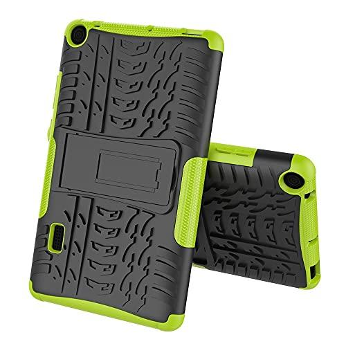Caja Protectora de la Tableta Cubierta de la Tableta para Huawei MediaPad T3 7,0 Pulgadas Textura de neumáticos TPU + PC Funda Protectora con Soporte de Mango Plegable (Color : Green)