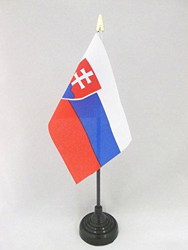 AZ FLAG TISCHFLAGGE SLOWAKEI 15x10cm goldene splitze - SLOWAKISCHE TISCHFAHNE 10 x 15 cm - flaggen