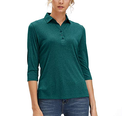 Women's 3/4 Sleeve Polo Shirts Moisture Wicking Performance Knit Tops Fitness Workout Running Sports Leisure T-Shirt (Dark Green,S)
