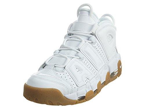 Nike Air More Uptempo, Chaussures de Sport - Basketball Homme, Blanco (White/White-Bamboo-Gum Light Brown), 47 1/2 EU