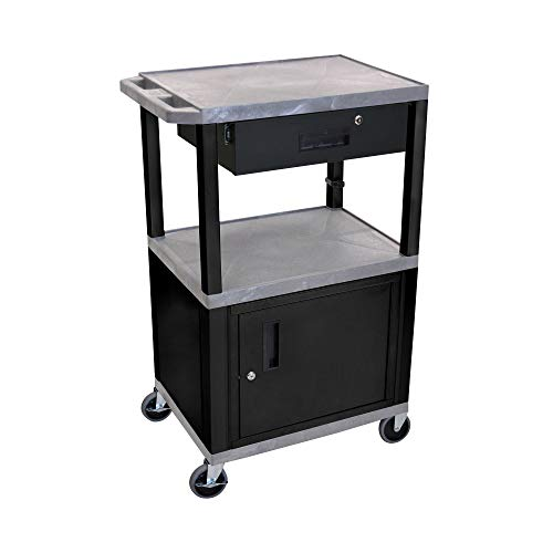 """Luxor 42""""H Mobile Multipurpose Utility Storage Audio Video Presentation Cart with 3 Shelves, Locking Cabinet and Drawer - Gray, Black"""