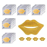 24K Golden Crystal Lip Masks 30 Pieces Hydrating Lip Plumper Mask Collagen Nourishing Lip Care Gel Pads Remove Dead Skin Anti Chapped & Anti-Aging Lip Patches