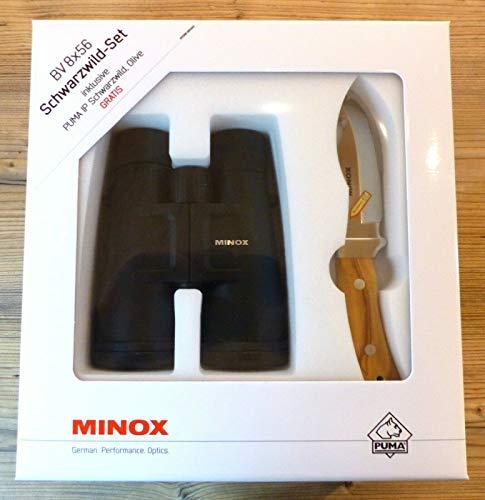MINOX BV 8x56 Fernglas Ansitzglas Nachtglas mit Tasche & Dioptrien-Ausgleich (Minox BV 8 x 56 - inkl. Puma IP Messer)