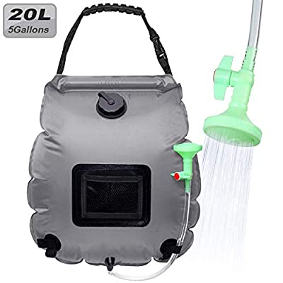 Portable Solar Heating Shower Bag,Solar Shower Bag Heating with Removable Hose and Shower Head for Camping Outdoor Traveling Hiking Summer Shower, Capacity 20 liters / 5 gallons