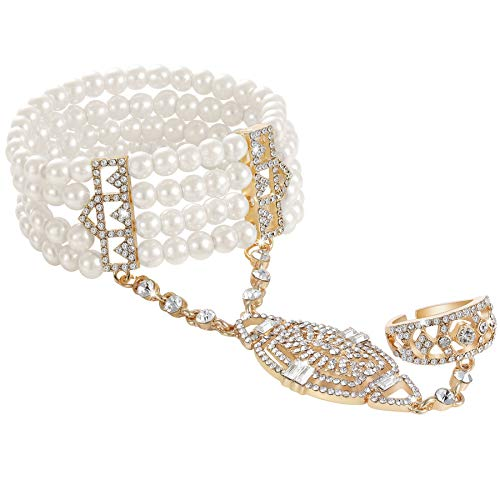 BABEYOND Damen Ring Armband Set Retro 1920er Party Pailetten und Imitation Perlen Verbunden Ring und Armband Inspiriert von The Great Gatsby Bling Mode Schmuck (Gold)