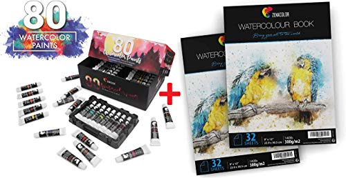 Set of 80 Watercolor Paint & 64 Pages Paper Pad 9' x 12' - 80 Tubes of Non-Toxic Paints - 2 x 32 White Sheets 140lb 300g for Watercolor Paint - Bulk Watercolor Washable Paint for Kids and Adults