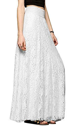 100% polyester, premium lace fabric Pull on closure, stretched wide waistband, layered lace long big swing 3 solid color: black, white, beige Suits for daily and party wear in spring summer and fall Attention: Due to monitor settings, monitor pixel d...