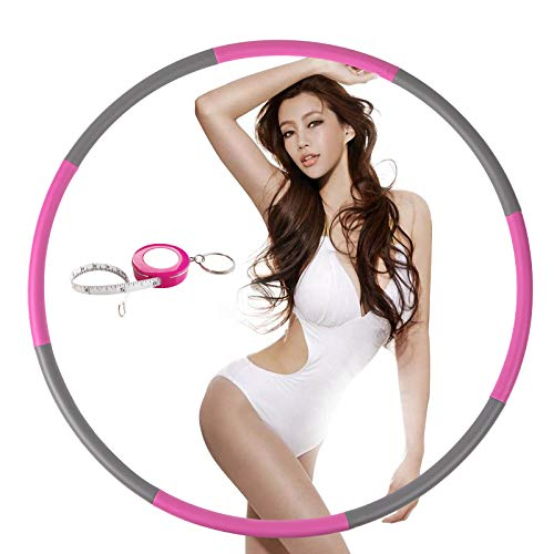 NEOWEEK Exercise Hoop for Adults, Weighted Fitness Hoop for Exercise-2lb, 8 Section Detachable Design-Professional Soft Workout Hoop(Pink-Gray)