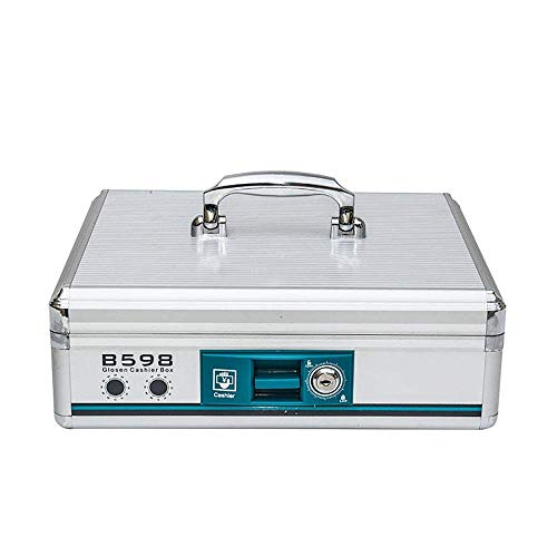 XXSHN Caja de Efectivo de aleación de Aluminio con Cerradura Caja de Almacenamiento de Billetes de Cambio de Centro Comercial de supermercado portátil 335x275x110mm