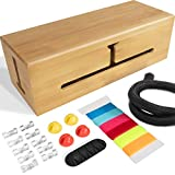 HomeBliss Bamboo Large Cable Box - Stylish Cord Organizer Cable Management Box for Cord Hider and Cord Management - Cable Organizer Box with Protector Cable Sleeve…