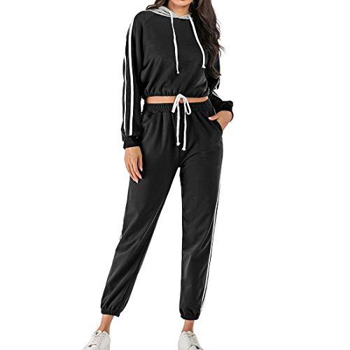Conjuntos de Deporte Chándal para Mujer,Hoodie Traje Deportivo Sudadera, Manga Larga Pantalones Largo,Moda Casual 2Pcs (Negro, L)