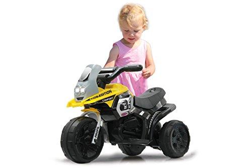 Jamara 460226 - Ride-on E-Trike Racer gelb - 6V Akku, elektrisches Dreirad mit extra starkem Bürstenmotor, Stahlhinterachse, Stahlvordergabel, LED Frontlicht, Musik, ca. 1 Std. Fahrzeit