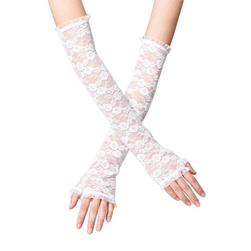 Witery - Guanti da donna con mezza dita, in pizzo, per protezione solare a sezione lunga, per la guida al gomito bianco Taglia unica