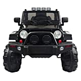 angstep 12V Kids Ride On Car Truck SUV MP3 Kids Electric Car Battery Motorized Cars for Kids with Remote Control, Built-in LED Lights, Bluetooth, Horn (Black)