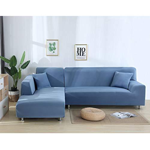 DKLE Fundas de Sofá Elásticas Forma de L 4 plazas, 2 Piezas Couch Cover Seccionales de Poliéster, Protector Antideslizante Lavable para Muebles, con 2 Fundas de Almohada