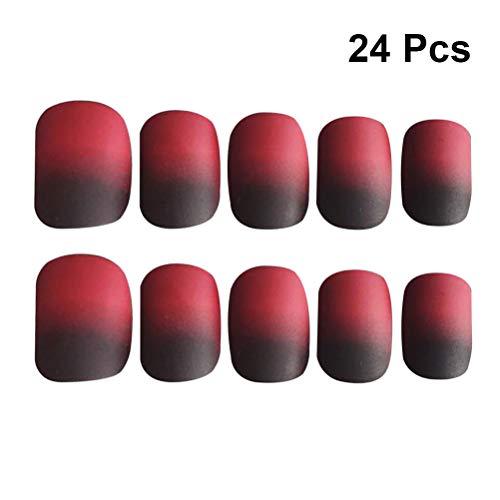 Frcolor 24 pcs de Noël Faux ongles Full Cover Faux ongles Noir et rouge ongles artificiels pour les femmes et les filles