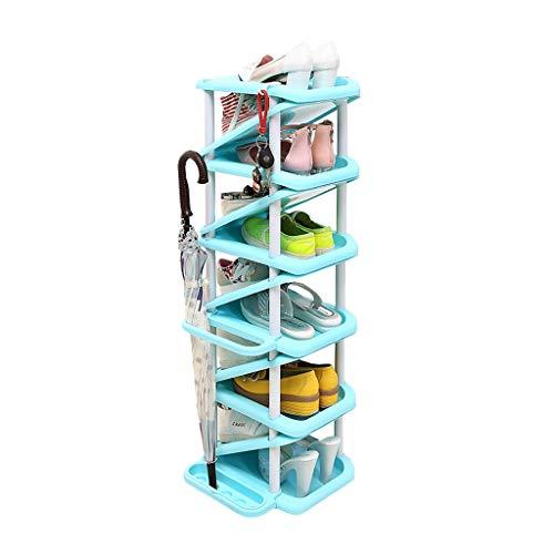 Zapatera Zapato de plástico de múltiples capas Rack Inicio Zapato de múltiples funciones en forma de Z Gran capacidad Ahorre espacio Puede almacenar paraguas, Largo 28 cm × Ancho 32cm × Altura 101cm T