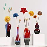 Jarrones para decoración Jarrón de cerámica vintage tradicional Conjunto de cuatro + flores secas, estilo chino Arreglo de flores secas Sala de estar Decoración de porche Decoraciones de glaseado rojo