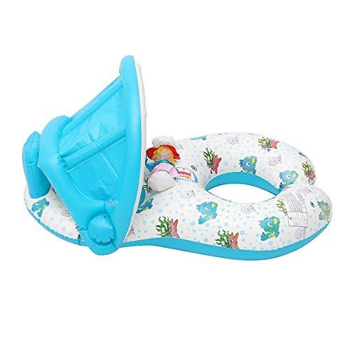 Piscina Hinchable Flotador del Asiento de natación Agua de la Piscina con Techo de sombrilla Inflable Madre Anillo de la natación del bebé