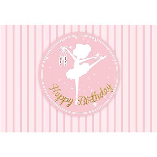 OFILA Girls Ballet Birthday Backdrop 7x5ft Ballerina Photography Background Dance Troupe Birthday Party Decoation Ballet Dancer Birthday Photo Shoot Princess Ballet Birthday Portraits Props