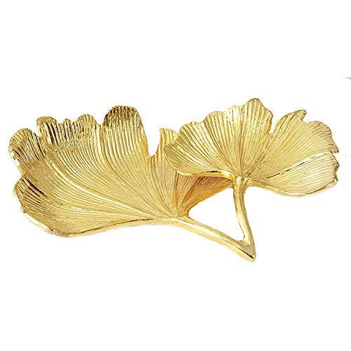 IGLZ Goldene Ginkgo-Blätter Schmuck Tray 15cm Zink-Legierung-Material Tränke Fach Exquisite Wohnkultur Schmuck Teller Fruchtschale for Mama, Tante, Freunde, Freundin