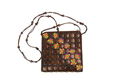 Sunny Times - Tasche für Damen und Mädchen Klein Ethno Kokos Holz mit Blumen und Holzperlen Bunt Hippie Handtasche Indianer Festival (Braun)