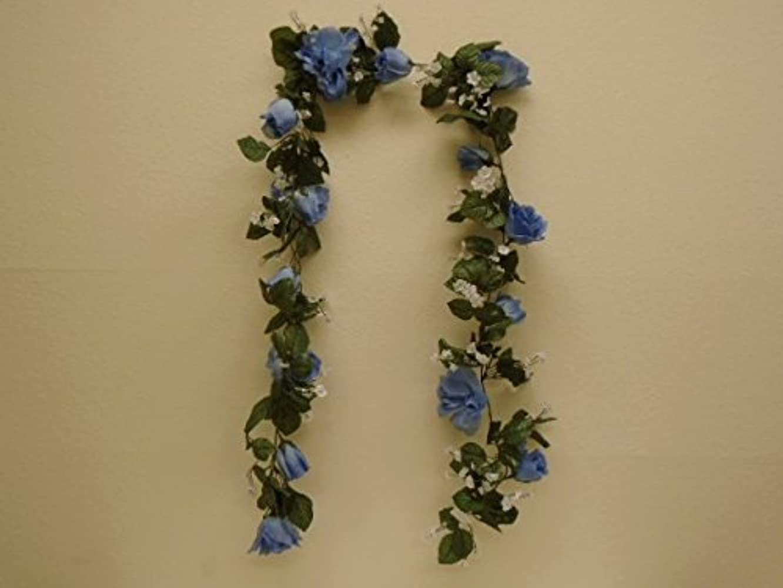 BLUE Roses Garland Artificial Silk Flowers 6 ft Vine 1029BL