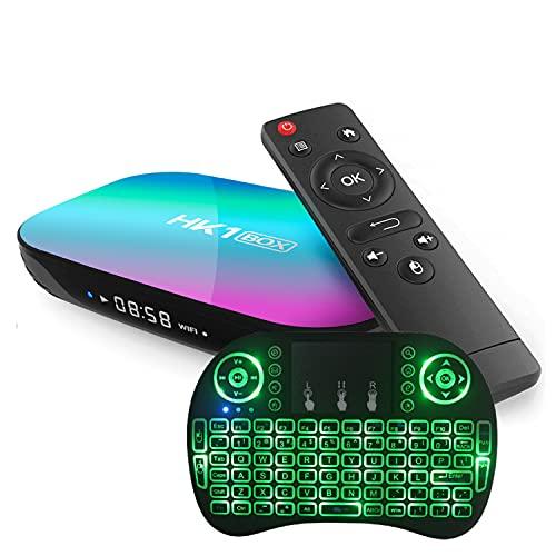 GEQWE Caja De TV Android 9.0 [4G + 128G] con Mini Teclado S905X3 De Cuatro Núcleos De 64 bits, Wi-Fi-Dual 5G / 2.4G, BT 4.0, 4K * 8K UHD H.265, Caja De TV Inteligente USB 3.0,4gb+64gb