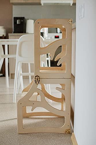 Silla de mesa para niños con diseño de torre de aprendizaje 2 en 1, plegable