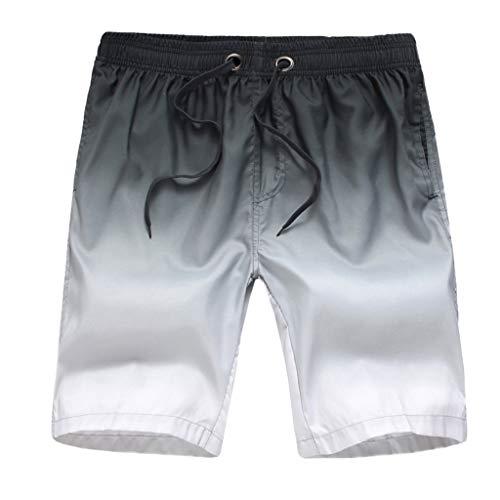 Xmiral Badehose Herren Farbverlauf Verstellbarem Kordelzug Elastisch Taille Lose Strandhosen Kurze Hosen Schnelltrocknend Surf Shorts Badeshorts(Grau,XL)