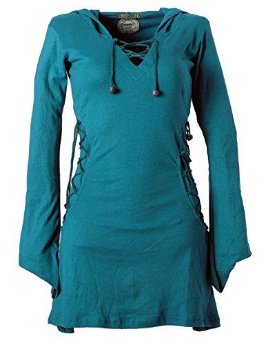 Vishes - Alternative Bekleidung - Elfenkleid mit Zipfelkapuze und Bändern zum Schnüren türkis 36-38 (XS)