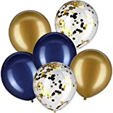 Jovitec 30 Pieces 12 Inches Latex Balloons Confetti Balloons Metallic Balloons for Wedding Birthday Party Decoration (Navy Blue and Metallic Gold)