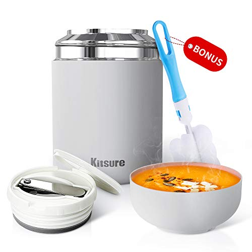 Kitsure 30 oz Thermos Food Jar, Leak Proof Vacuum Insulated Food Container for Hot Food, Stainless Steel Lunch Box for Kids & Adults with Folding Spoon, Compact Design & Maximizing Capacity Grey