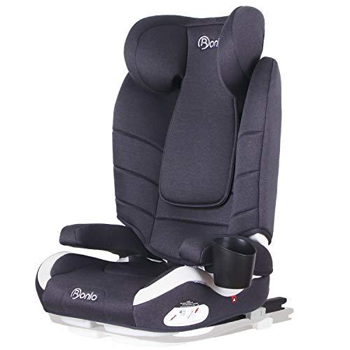 Bonio Kinderautositz Kindersitz, Gruppe 2/3 (15-36 kg), für Autos mit und ohne ISOFIX, Ab ca. 3 bis ca. 12 Jahre, zugelassen nach ECE R44/04 - Grau