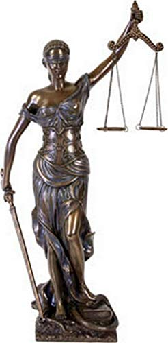 Große Justitia Figur bronziert Skulptur 45 cm Göttin der Gerechtigkeit Anwalt BGB